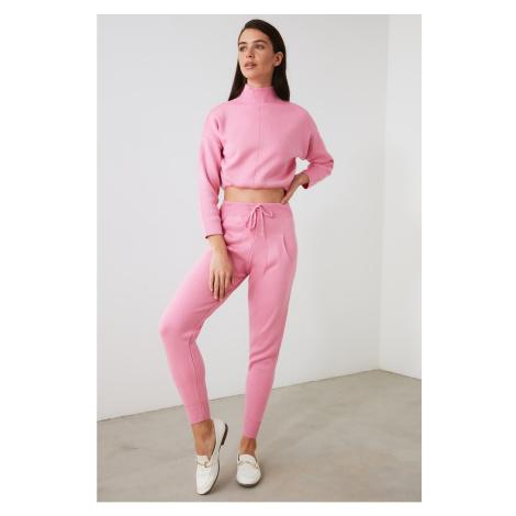Trendyol Różowy wyprostowany kołnierz Sweter Spodnie Spodnie Dolna-Top Dzianinowy Garnitur