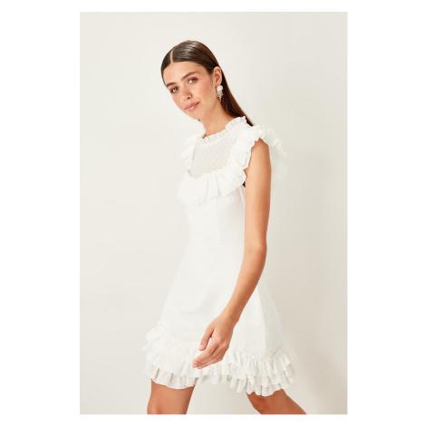 Trendyol Ecru Belted custom Fabric dress