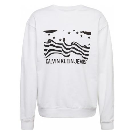 Calvin Klein Jeans Bluzka sportowa 'INSTITUTIONAL FLAG BOX CN' czarny / biały