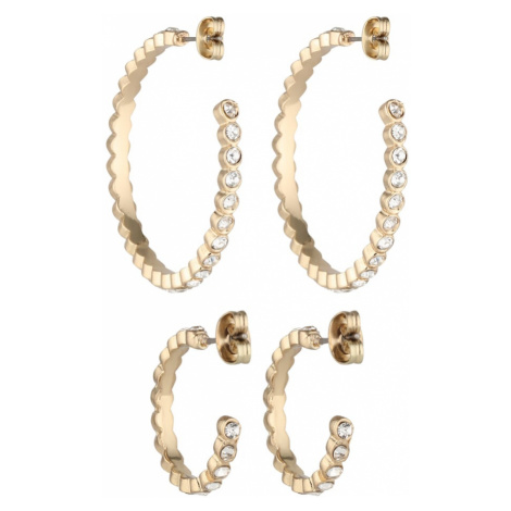 PIECES Zestaw biżuterii 'PCJAMIE 2-PACK HOOP EARRINGS KEY' złoty