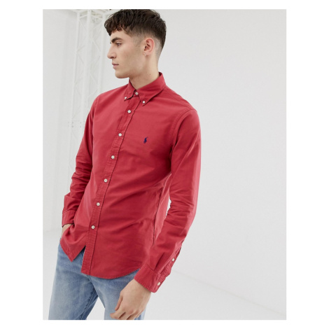 Polo Ralph Lauren slim fit garment dyed shirt with button down collar in red