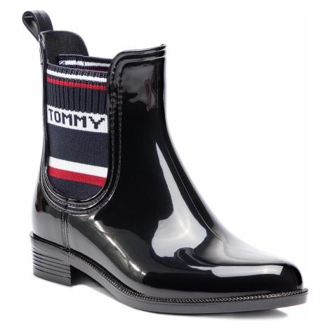 Kalosze TOMMY HILFIGER - Tommy Elastic Rain Boot FW0FW03836 Black 990