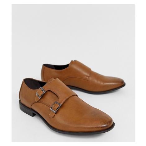ASOS DESIGN Wide Fit monk shoes in tan faux leather