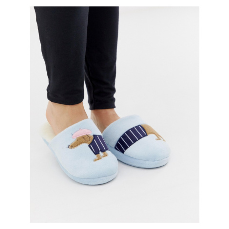 Women'secret French sausage dog slippers in blue