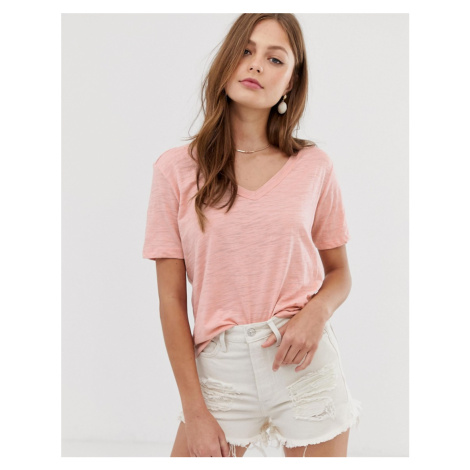 Mango v neck t shirt in pink