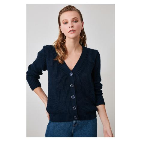 Trendyol Navy Knitting Detailed Knitwear Cardigan