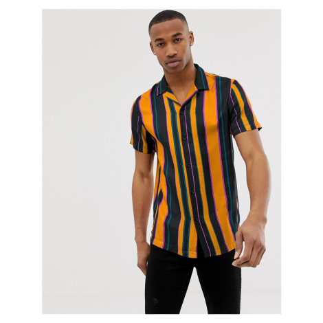 River Island revere collar shirt with stripes in mustard