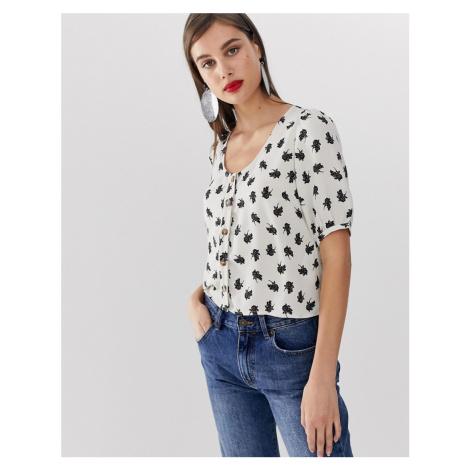 Vero Moda floral volume sleeeve button through blouse