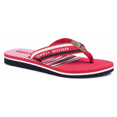 Japonki TOMMY HILFIGER - Stripy Flap Beach Sandal FW0FW04799 Primary Red XLG