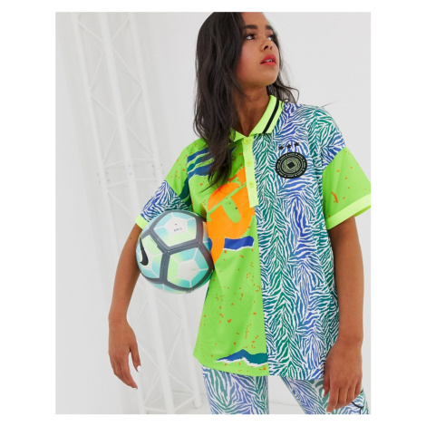 ASOS 4505 football t-shirt with collar in spliced pattern