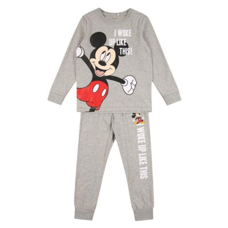 NAME IT Piżama 'Mickey Mouse' nakrapiany szary / biały / czerwony / czarny