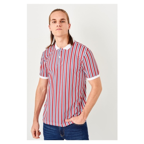 Trendyol White Mens Printed Polo collar T-shirt