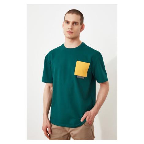 Trendyol Green Męskie szerokie cięcie krótki rękaw kontrast kieszeni szczegółowe bluza