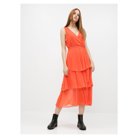 Pomarańczowa sukienka midi Dorothy Perkins