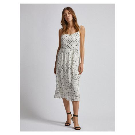 Biała sukienka midi w groszki Dorothy Perkins