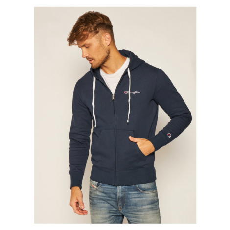 Champion Bluza Zip-Up Script Logo Fleece 214719 Granatowy Comfort Fit