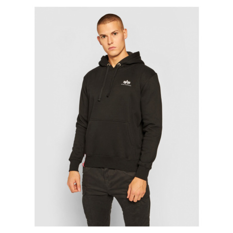 Alpha Industries Bluza Basic Hoody Small Logo 196318 Czarny Regular Fit