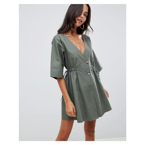 ASOS DESIGN v front v back casual smock mini dress with buttons