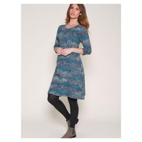 Niebieska wzorzysta sukienka Brakeburn