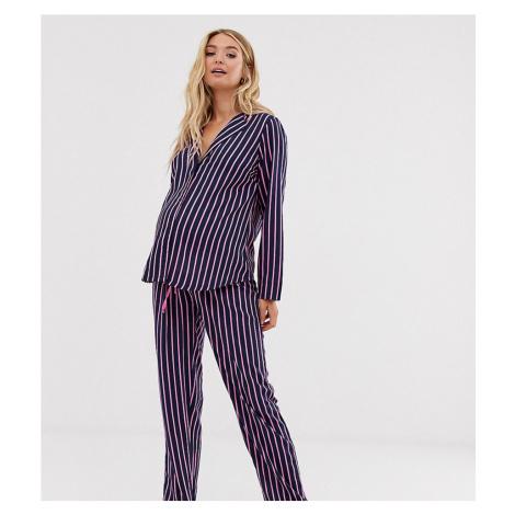 ASOS DESIGN Maternity shirt & trouser pyjama stripe set in 100% modal