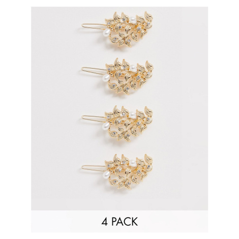 ASOS DESIGN pack of 4 hair clips in leaf design with pearls in gold tone