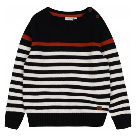 NAME IT Sweter ciemny niebieski / biały