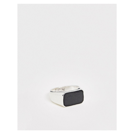 Icon Brand rectangle signet ring with black stone in silver