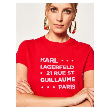 KARL LAGERFELD T-Shirt Stacked Logo Adress 201W1715 Czerwony Regular Fit
