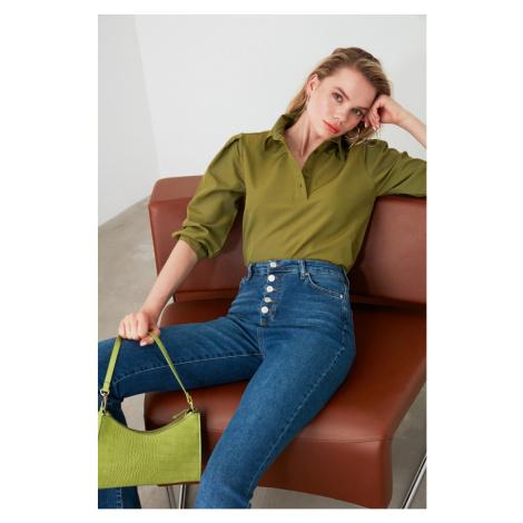 Trendyol Khaki Shirt Collar Blouse