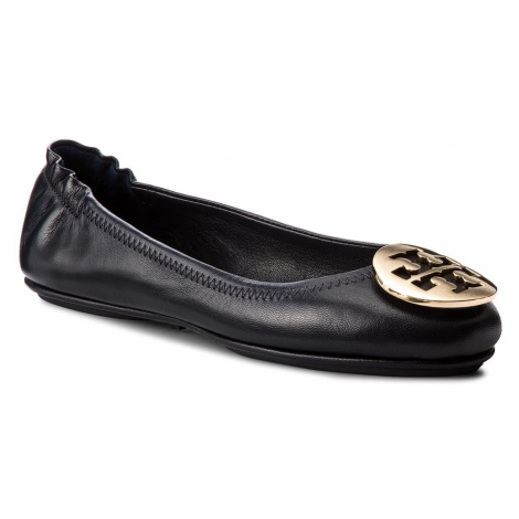Baleriny TORY BURCH - Minnie Travel Ballet With Metal Logo 50393 Perfect Navy/Gold 444