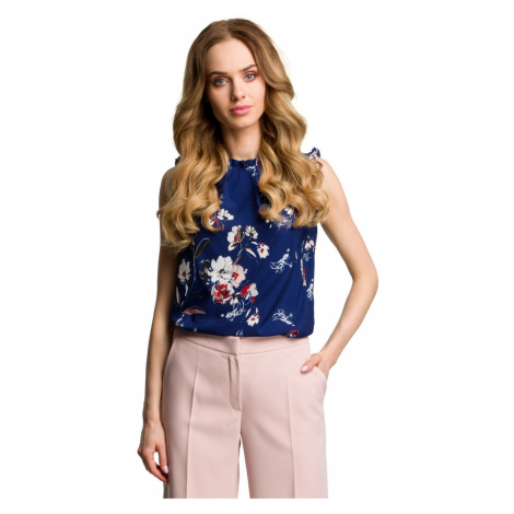 Made Of Emotion Woman's Blouse M384 Navy Blue