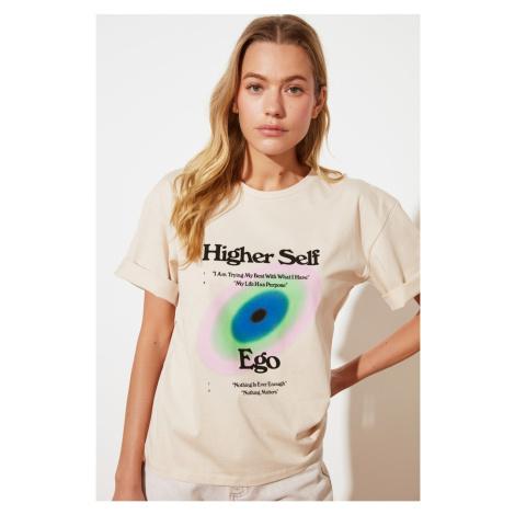 Modyol Beige Luźny T-shirt z dzianiny Trendyol