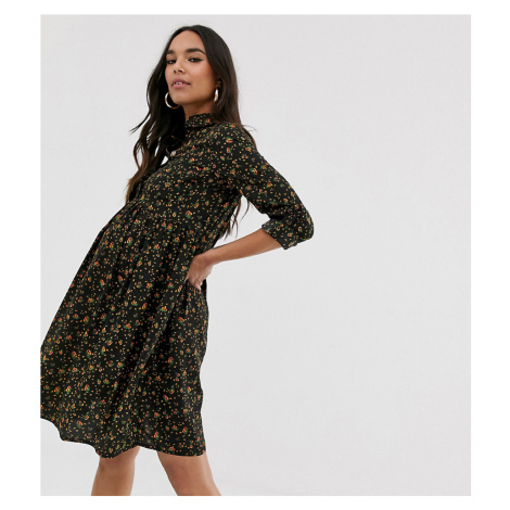 New look Maternity roll sleeve shirt dress in dark floral print