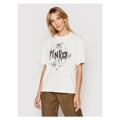 Pinko T-Shirt Semplicemente 1N134F Y5BD Biały Regular Fit