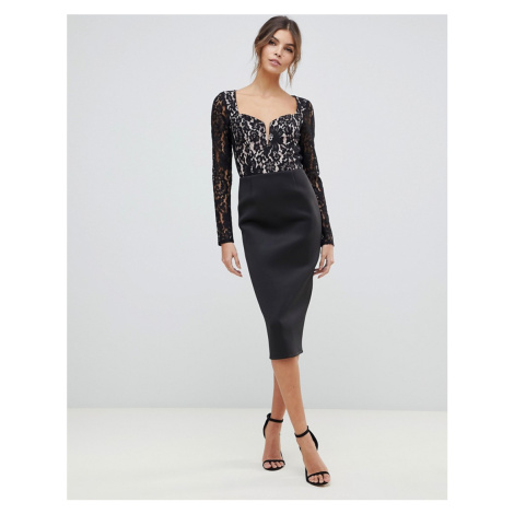 ASOS DESIGN lace mix midi dress with sweetheart neck