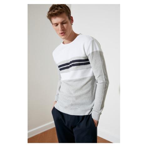 Bluza z modsymolem Biały Męski Slim Fit Trendyol