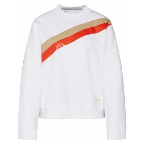 Calvin Klein Bluzka sportowa 'YOKE STRIPE FUNNEL SWEATSHIRT LS' złoty / jasnoczerwony / biały