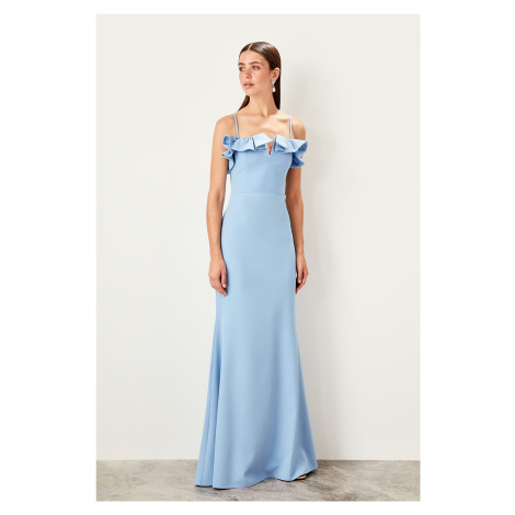Trendyol Blue collar detailed evening dress