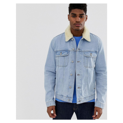 ASOS DESIGN denim jacket with detachable borg collar in light wash