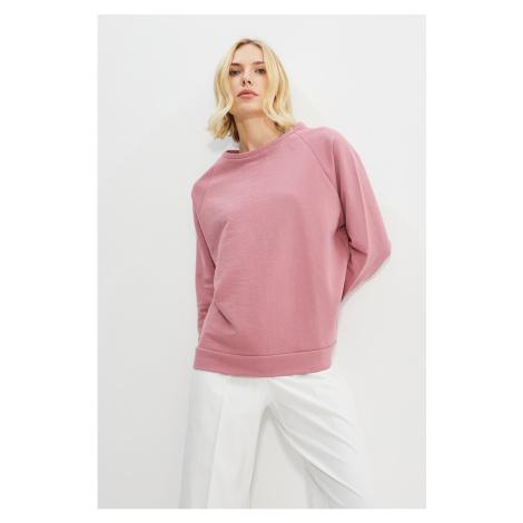 Trendyol Dried Rose Raglan Sleeve Oversize Dzianinowa Bluza