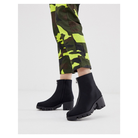 ASOS DESIGN Rebel chunky zip ankle boots in black