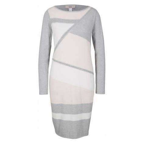 Heine Sukienka szary / biały / jasnoróżowy