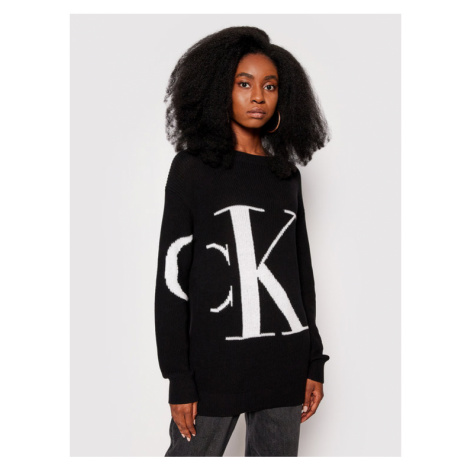 Calvin Klein Jeans Sweter J20J215591 Czarny Relaxed Fit