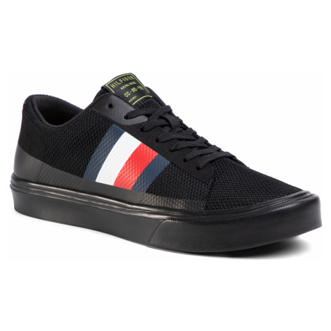 Sneakersy TOMMY HILFIGER - Lightweight Stripes Knit Sneaker FM0FM02689B Black BDS