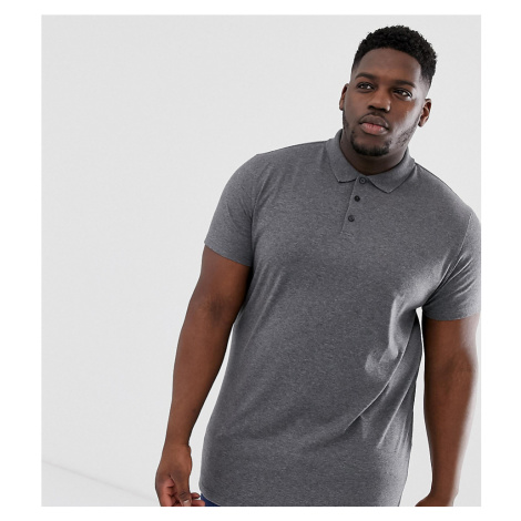 ASOS DESIGN Plus longline jersey polo in charcoal marl