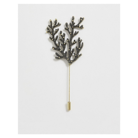 ASOS DESIGN coral inspired lapel pin in burnished gold