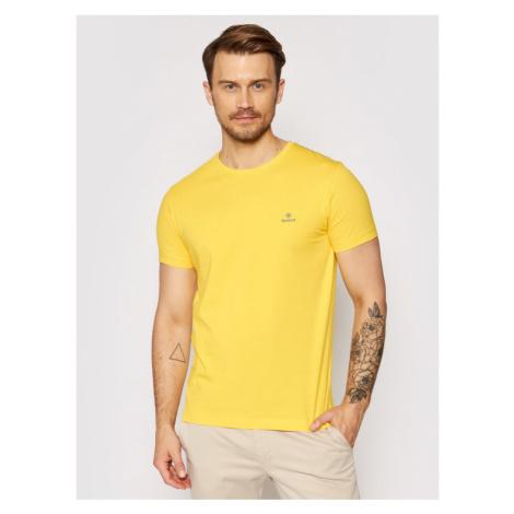 Gant T-Shirt Contrast Logo 2053004 Żółty Regular Fit