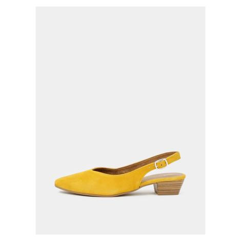 Tamaris żółty zamszowe balerinki