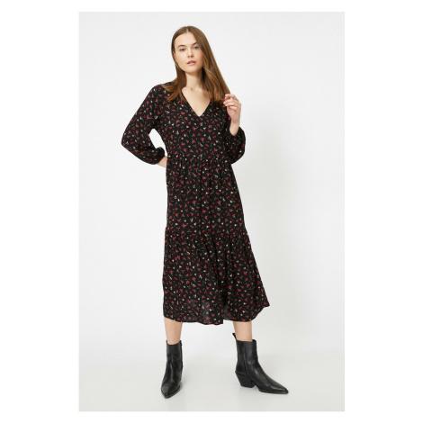 Koton Damska sukienka w czarne wzorzyste wzorzyste