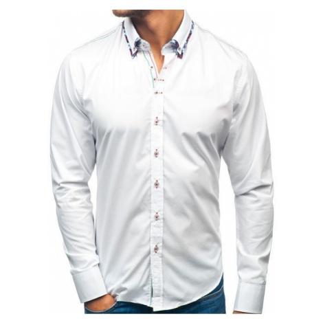 Koszula męska elegancka z długim rękawem biała Bolf 2701